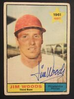 Jim Woods Phillies Signed 1961 Topps Baseball Card #59 Auto Autograph