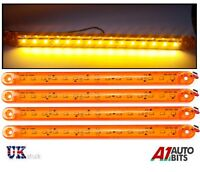 4X Orange Amber 24V 15 LED Side Marker Indicator Lights For Man Daf Scania Volvo