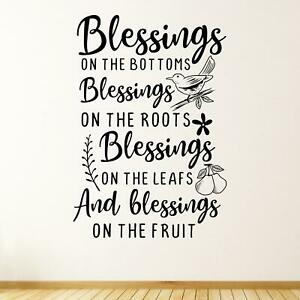 Blessings On The Bottoms Wall Sticker Decal  Gardening Quote Christian Home
