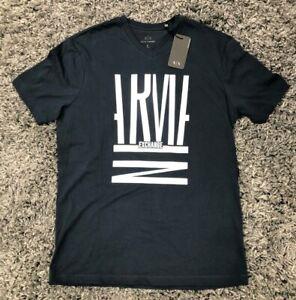 ARMANI EXCHANGE A|X Mens Logo Short Sleeve V-Neck T-Shirt Navy Sz S NEW