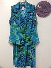 Ladies two piece skirt and top set size 12 blue green floral S L Fashions 31