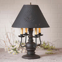 COLONIAL TABLE LAMP & PUNCHED TIN SHADE - BLACK & RED with 3 Light Options USA