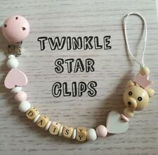 Personalised Dummy Clip, Pink, Hearts, Baby, Teddybear, Wooden beads, Love