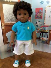 """OOAK Custom American Girl Doll Custom 18"""" Boy/brother Brown curly Hair Dark Skin"""