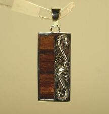 12mm Hawaiian Solid 925 Silver Genuine Inlaid Koa Wood Scrolls Vertical Pendant