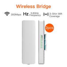 2PCS 5.8G 300 Mbps Inalámbrico Cpe Ap Repetidor Puente Con Antena Router Amplificador