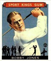BOBBY JONES 1933 GOUDEY SPORT KINGS GUM REPRINT GOLF CARD #38! GOLF LEGEND!