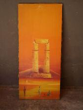 HUILE SUR TOILE ORIENTALISTE 1 EGYPTE ANCIEN PEINTURE PANNEAU DECO ESOTERISME