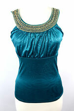D5 Teal Green Blue Egyptian Chain Neck Stretch Blouse Tank Top Shirt Medium
