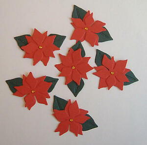 10 Red Poinsettias self adhesive Toppers (Quickutz) Embellishments