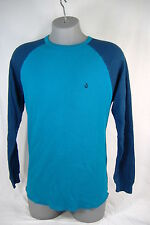 "New Mens Small VOLCOM ""Colorblock Raglan"" Blue Thermal Long Sleeve Shirt $35"