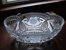 "Genuine Anna Hutte Bleikristall German Hand Cut Crystal Flower Oval Bowl 11 x 6"""