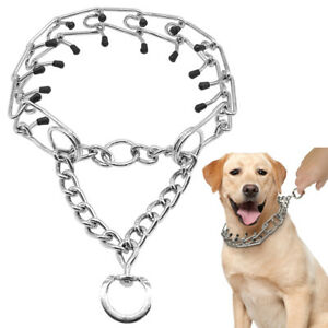 Stainless Steel Dog Choke Chain Prong Collar For Pet Dogs Training Safety Rubber
