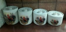 Pottery Canister Set 4 Hen Rooster Chicks Shakers & Thangs Pottery Made In Texas