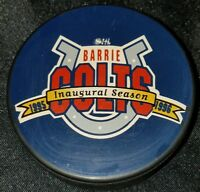 1995-96 BARRIE COLTS VINTAGE OHL JR. A OFFICIAL VEGUM SLOVAKIA HOCKEY PUCK
