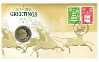 Australia 2014 Christmas Reindeer Season's Greetings $1 Coin & Stamp PNC Cover