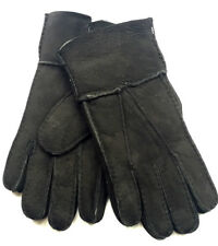 Mens Genuine Suede - Gloves Classic Black Cosy Fleece Lining - leather gloves