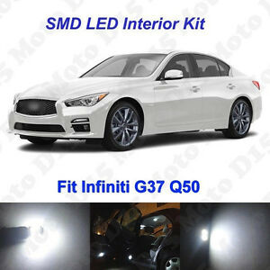 13x White LED Interior + License Plate Bulbs Kit  for 2007-2018 Infiniti G37 Q50