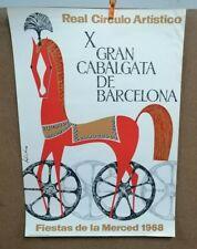 AFFICHE  ANCIENNE FIESTAS DE LA MERCED BARCELONA BARCELONE 1968 ESPAGNE