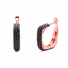 925 Sterling Silver Black Pave Square Clip Earrings Rose Gold Plated