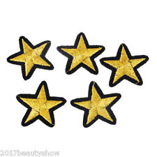 10PC Golden Five-pointed Pattern Star Patch Iron On Bag Hat DIY Applique 4x4.2cm