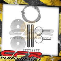 "Hood Pin Kit 3/16"" Flip Over Style W/Lanyards Chevy Ford Mopar - Chrome"