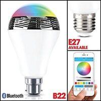 Smart LED Bluetooth Light Bulb Speaker B22 & E27 4.0+ EDR Music Timer Wireless