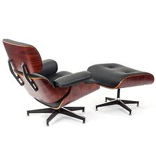 Mid-Century Eames Lounge Chair & Ottoman Premium Quality Black Leather Rosewood