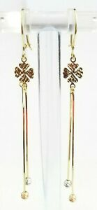 Yellow White Rose Gold Earrings Dangle Drop Chandelier Clover Ladies