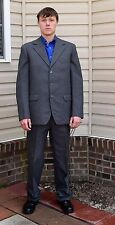 "Vintage Men's Gray Wool Suit Button Fly Pants 42 R 37"" W x 33"" Inseam"