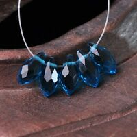 50pcs 12x6mm Teardrop Pendant Faceted Crystal Glass Loose Beads Peacock Blue