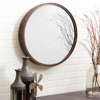Rustic Farmhouse Wall Mirror Round Hanging Large Modern Metal Beveled Industrial
