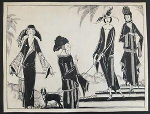Orpha Klinker Original 1920's Signed Drawing Illustration Of Fashion