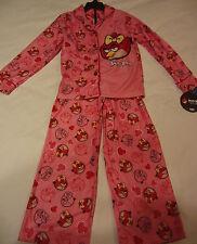 NEW Angry Birds 2pc Pink Pajama Set Shirt & Pants Sleepwear PJ's  Girls S 6 / 6X