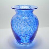 QUALITY Vintage STUDIO ART GLASS VASE  * Dappled COBALT BLUE Splashes & STREAKS
