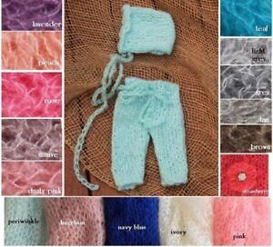 Newborn Hand Knit Mohair Pants & Bonnet Hat SET for Baby Photo Prop Photography