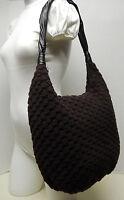Coldwater Creek Dark Chocolate Brown Hobo Knit Crochet Shoulder Bag Tote Purse