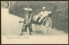 Hong Kong. European Man Travelling in a Rickshaw - Early Printed Postcard