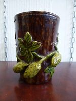 Antique Very Old Rye Treacle glaze pottery ceramic vessel cup Hops style