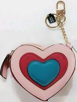 Neiman Marcus Heart Shaped Coin Pouch Key Chain Bag Charm Blush Multi