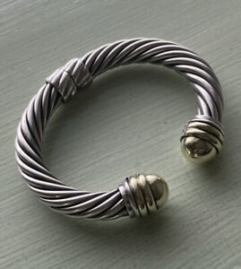 David Yurman Sterling Silver 925 & 14k Gold Dome 10mm Cable Hinged Cuff Bracelet