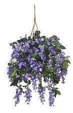 Artificial Wisteria Hanging Basket Arrangement Silk Flower Decor Bush Patio Ivy