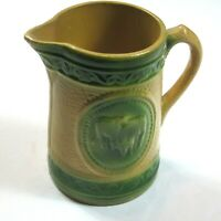 Antique 1900s Salt Glazed Pitcher Cows Green Milk Diary Jug A.E. Hull Pottery OH