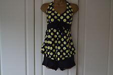 U.K. Stock Women 2 Pcs Yellow Spotty Halter Tankini Swimsuit (Size 14)