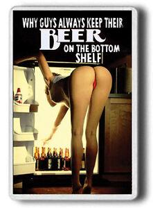 Funny Sexy Beer Woman FRIDGE MAGNET!Sexy bottom shelf Fridge Magnet JUMBO SIZE