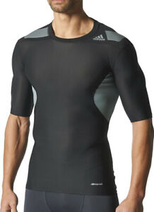 Adidas Tech-Fit Power Web Short Sleeve Mens Compression Top Black