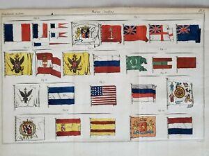 MARITIME FLAGS 1824 RARE HAND COLORED ANTIQUE PRINT  USA 17 STARS 17 STRIPES