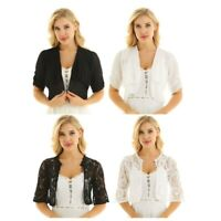 Women's Half Sleeve Sheer Lace Open Front Chiffon Bolero Shrug Cardigan Top Coat