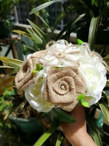 1pc Handmade Flowers Burlap Bouquet Burlap Bouquet Wedding Bride Bridesmaid