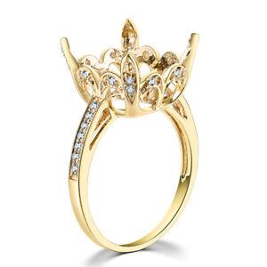 14K Yellow Gold Natural Diamonds Fine Ring 12x11mm Cushion Cut Semi Mount